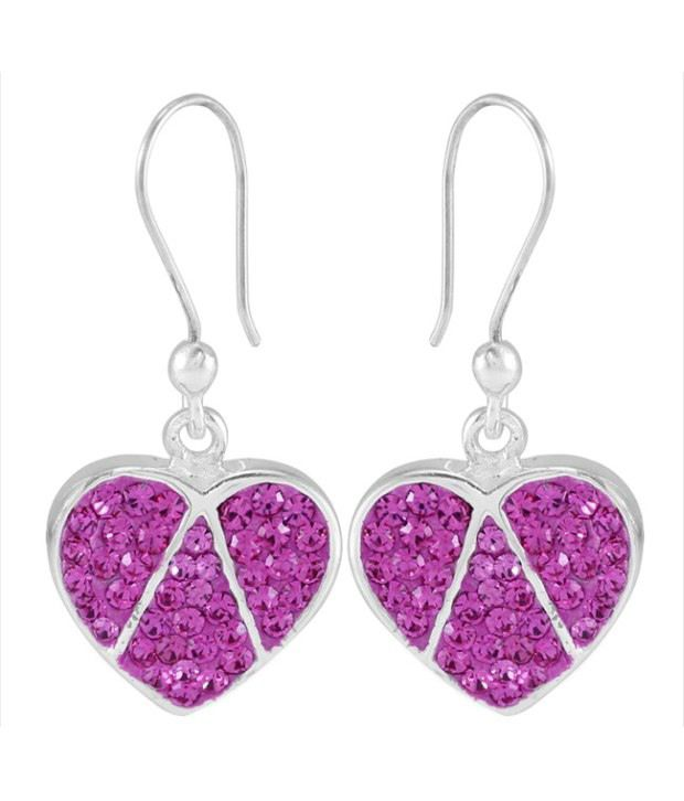 925 Silver Pair Of Dangler Sterling Silver Pink Color Earrings