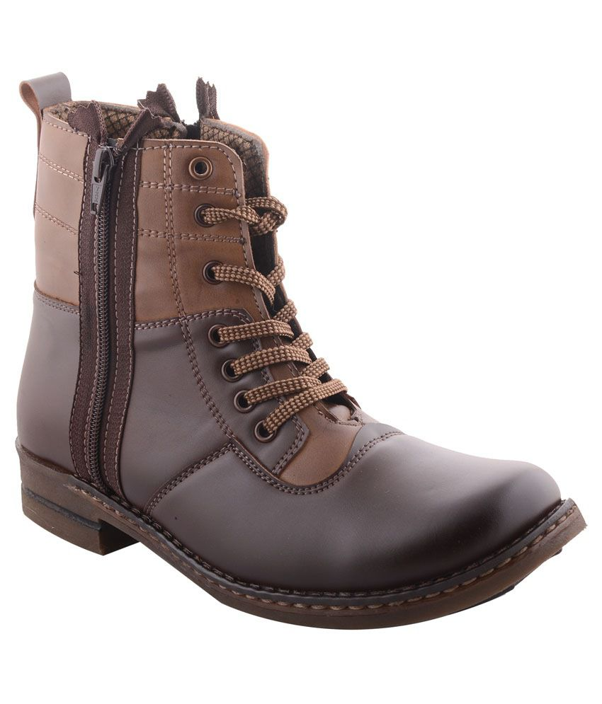 99 Moves Men's Micro Leather Brown Boots