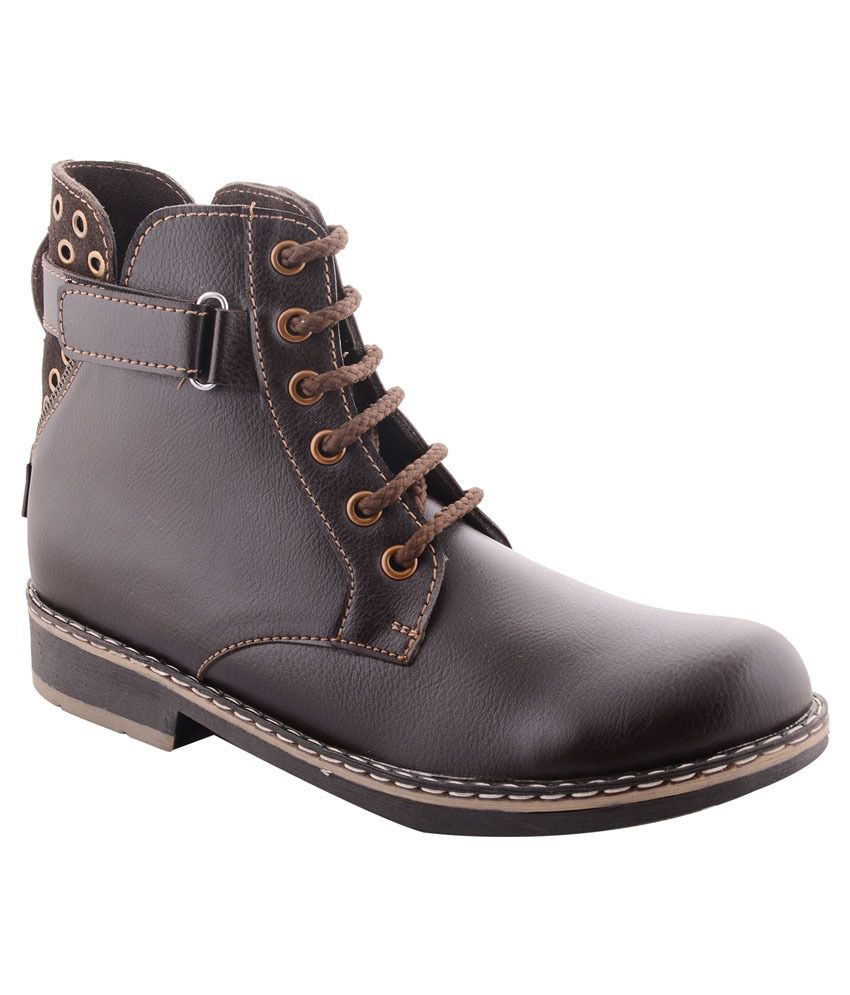 99 Moves Men's Napa Leather Brown Boots