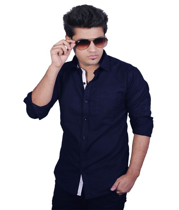 042caa5eb84b Zavlin Navy Cotton Casual Shirt - Buy Zavlin Navy Cotton Casual Shirt Online  at Best Prices in India on Snapdeal