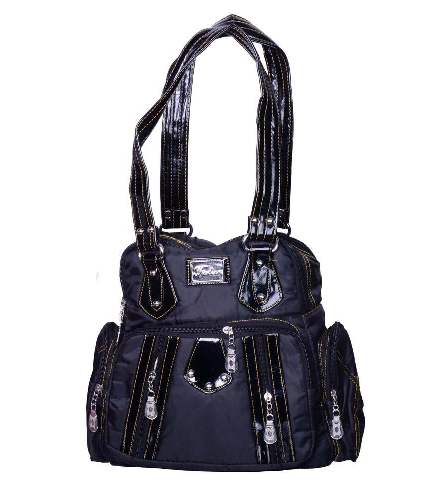 Hysty Black Canvas Cloth Designer Shoulder Bag