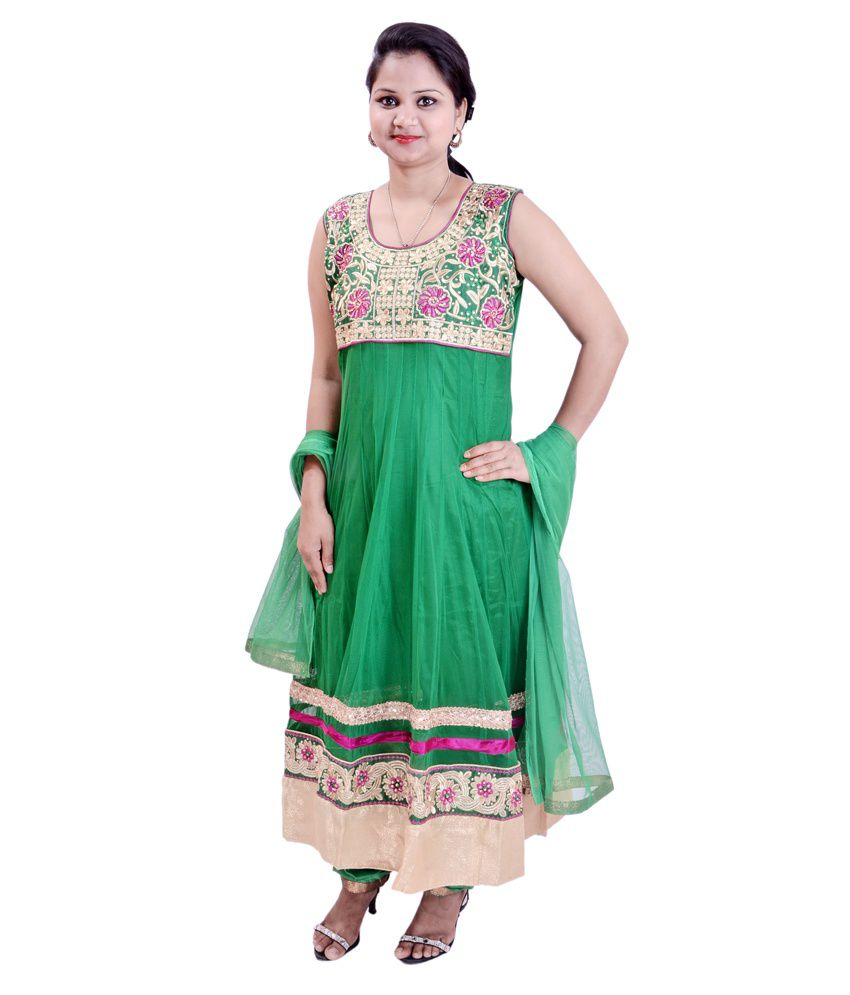 Krazzy Collection Green Embroidered Net Anarkali Salwar Suit