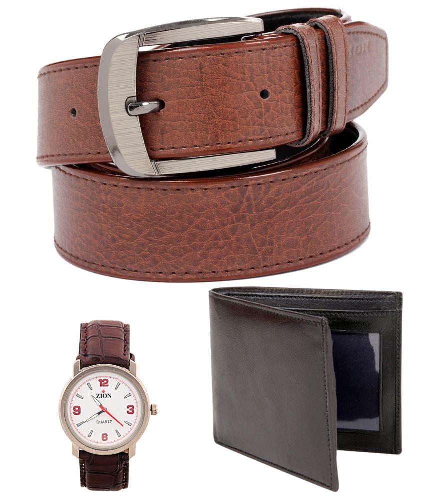 Tryzion Fabulous Combo Of Belt, Watch & Wallet For Men