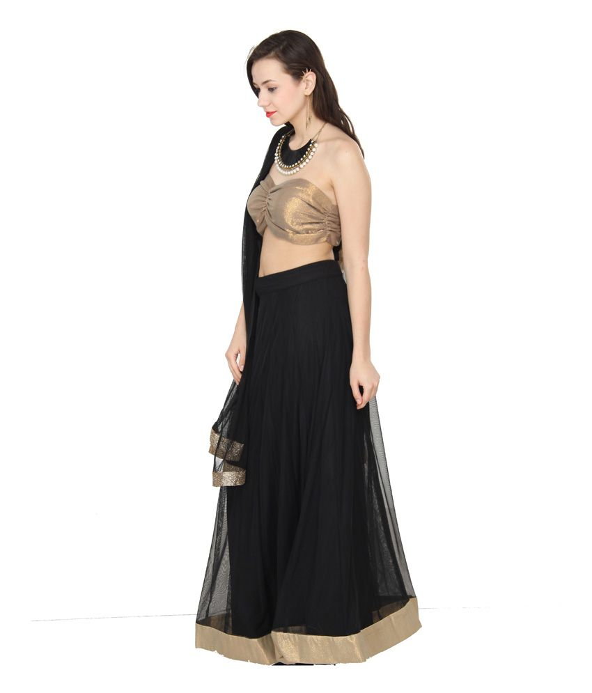 ab31734b76d503 Western Route Black Net Plain Semi Stitched Lehenga - Buy Western ...