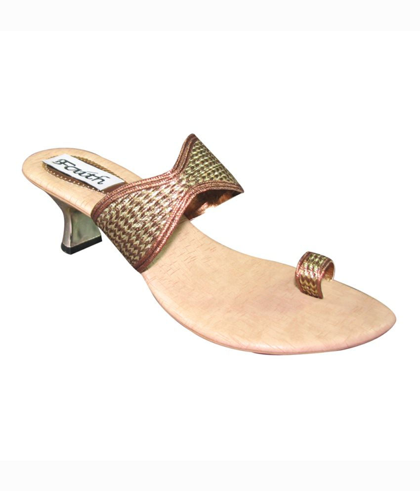 Faith Brown Kitten Ethnic Footwear