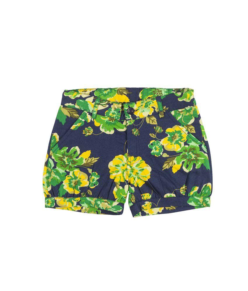 Hunny Bunny Green Denim Printed Elastic Shorts