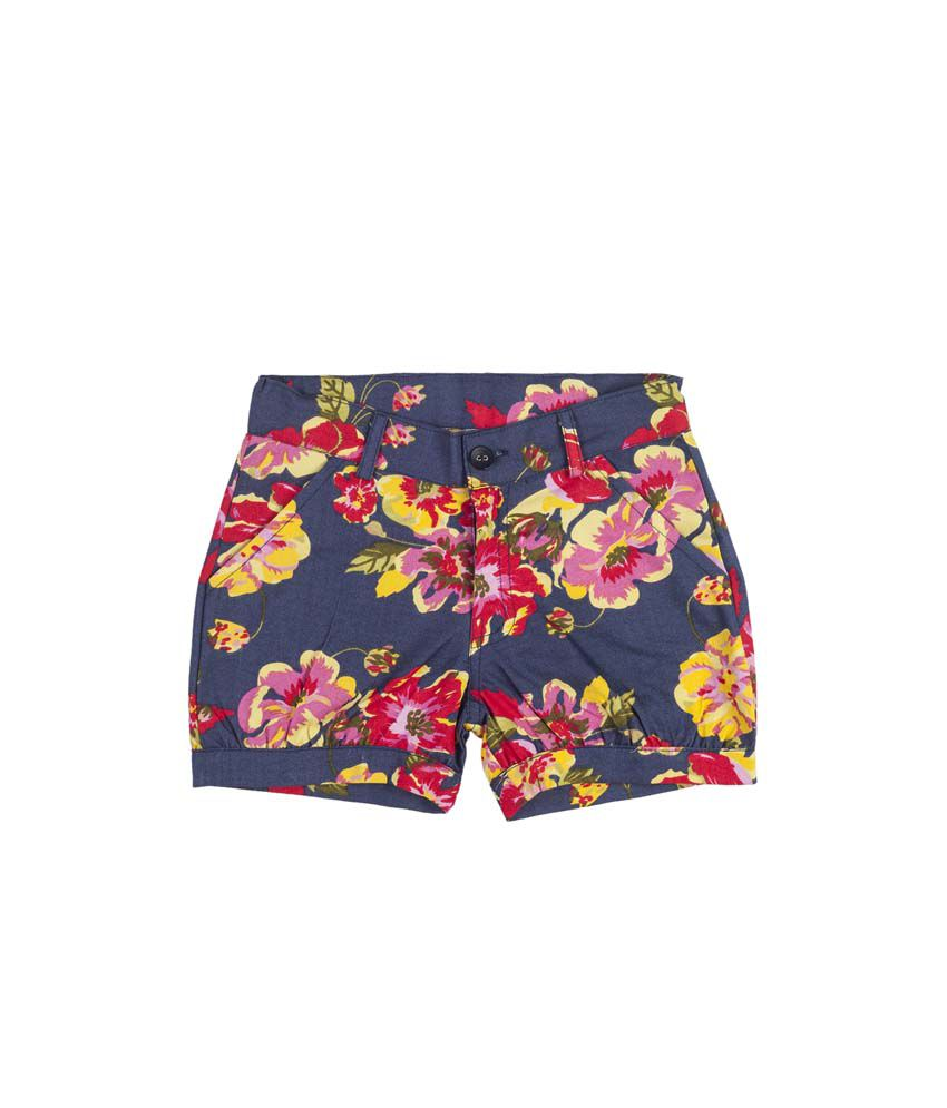 Hunny Bunny Red Denim Printed Elastic Shorts