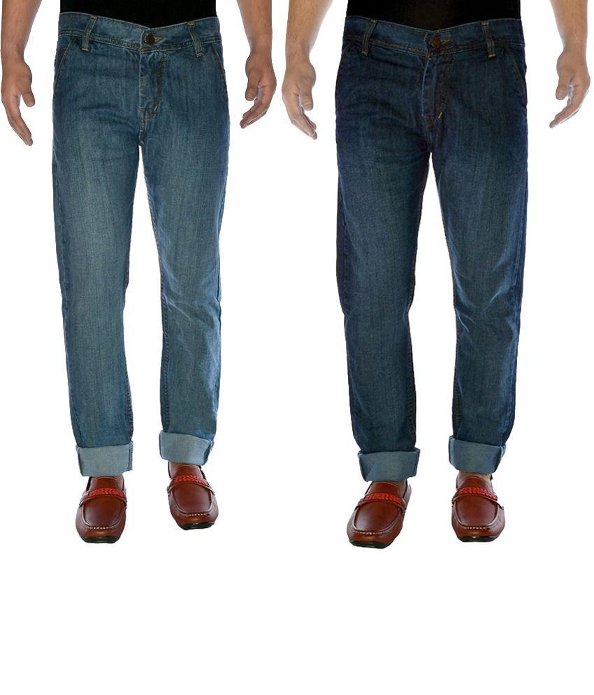 K-san Multicolour Cotton Regular Fit Faded Jeans