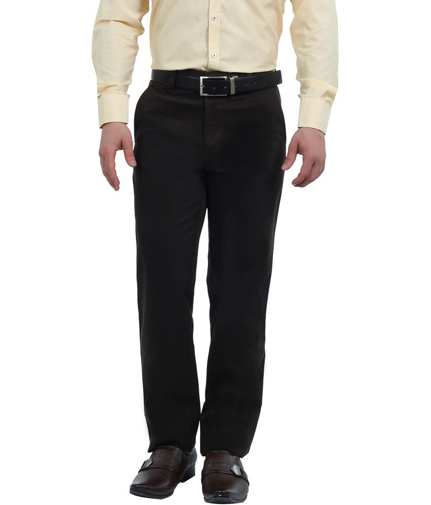 Lenox Brown Cotton Regular Fit Flat Formal Trouser