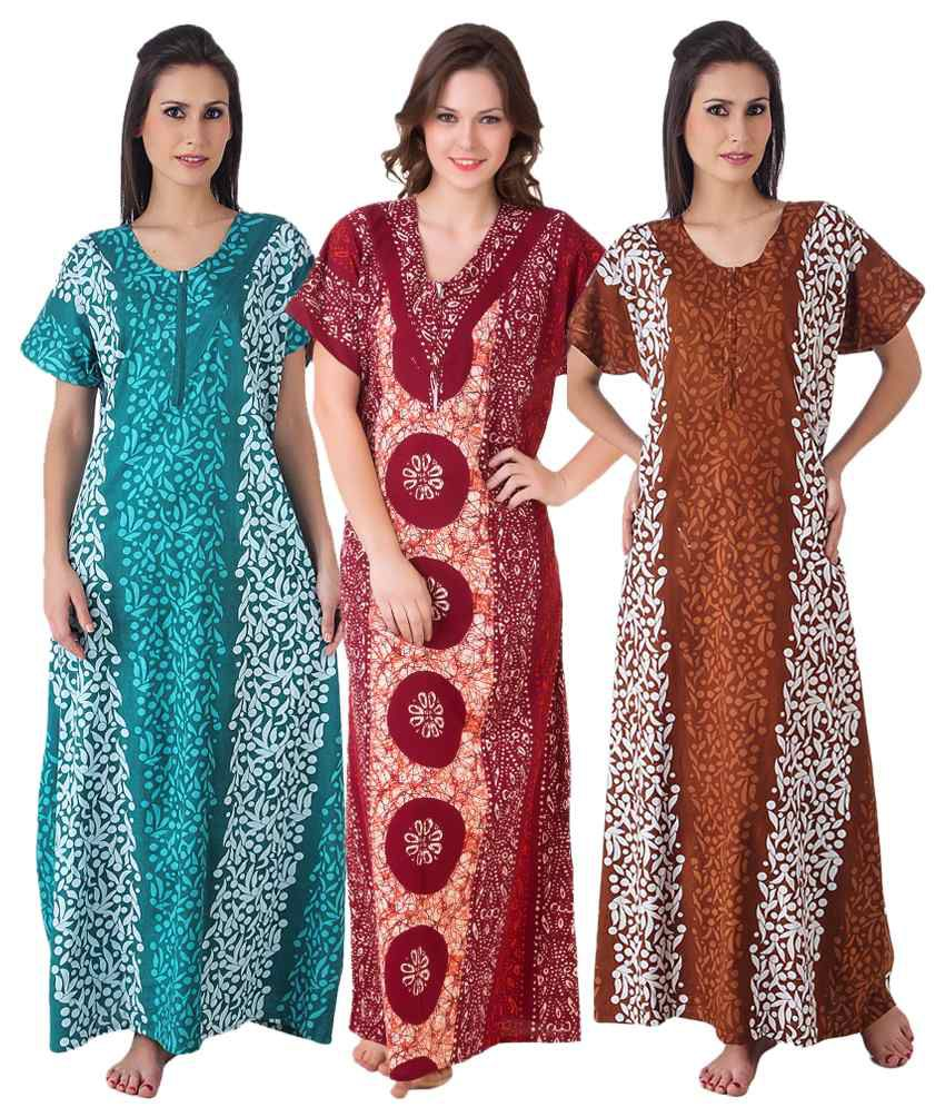b9cc081e8c Buy Masha Multi Color Cotton Nighty   Night Gowns Pack of 3 Online at Best  Prices in India - Snapdeal