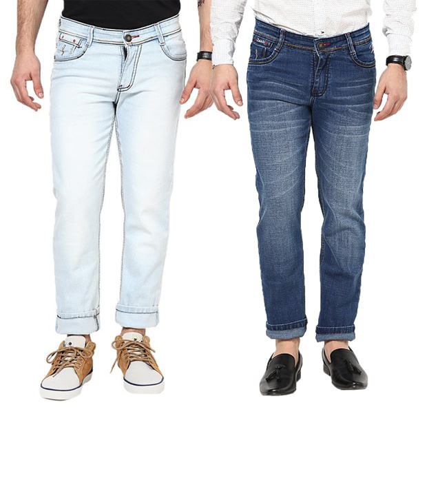 Zaab Dashing Combo Of Light Blue & Medium Blue Slim Fit Jeans
