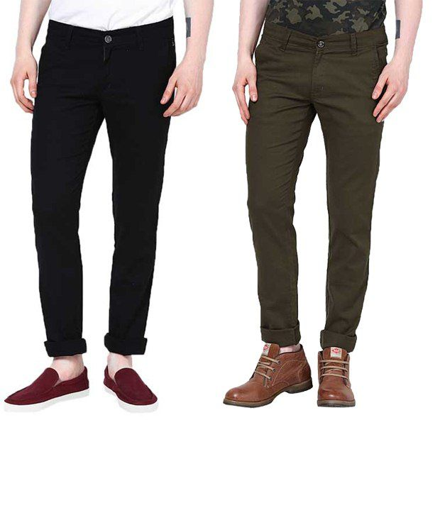 Zaab Magnificent Black & Green Casual Trousers Pack Of 2