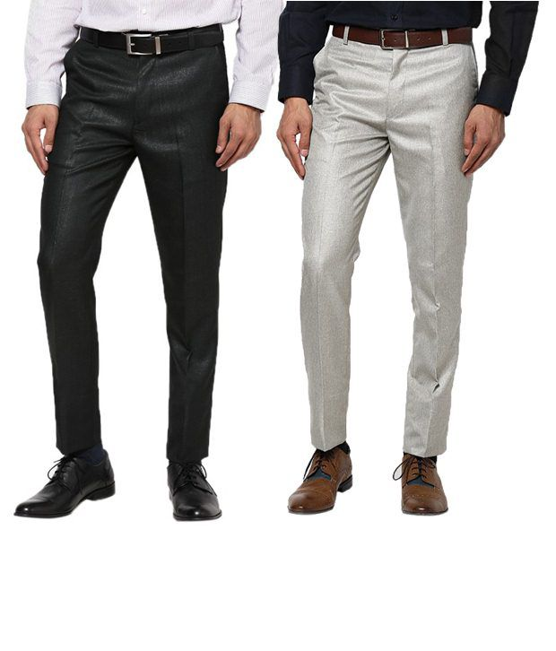 Zeco Amazing Black & Gray Formal Trousers Pack Of 2