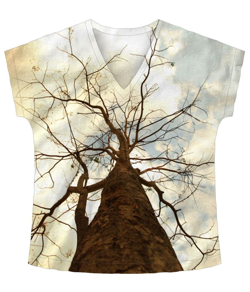 Freecultr Express Beige & Brown Reach V Neck Printed T Shirt