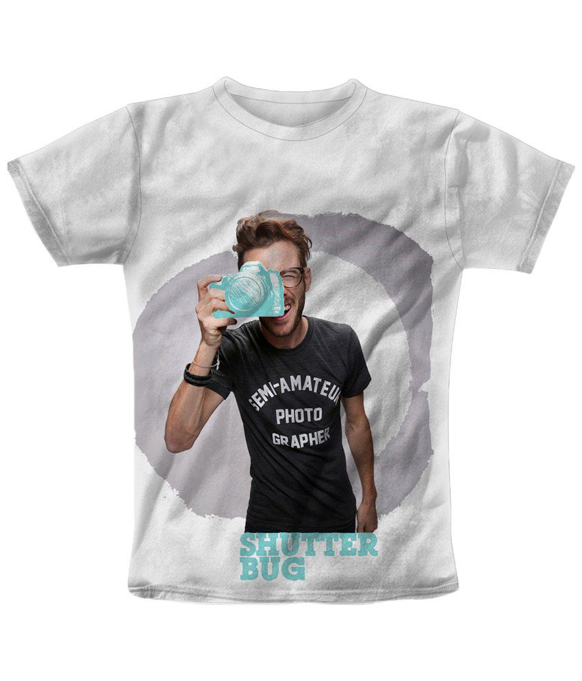 Freecultr Express Classy White & Black Shutter Bag Blue Printed T Shirt