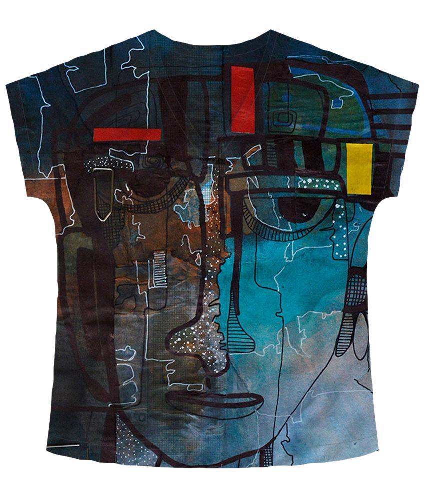 Freecultr Express Multicolour Merge V Neck Printed T Shirt