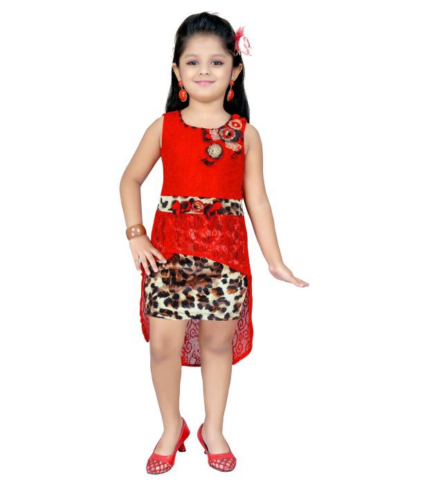 0184fb6409e5d Kids Mini Red Blended Sleeveless Party Wear Midi Dresses - Buy Kids Mini  Red Blended Sleeveless Party Wear Midi Dresses Online at Low Price -  Snapdeal