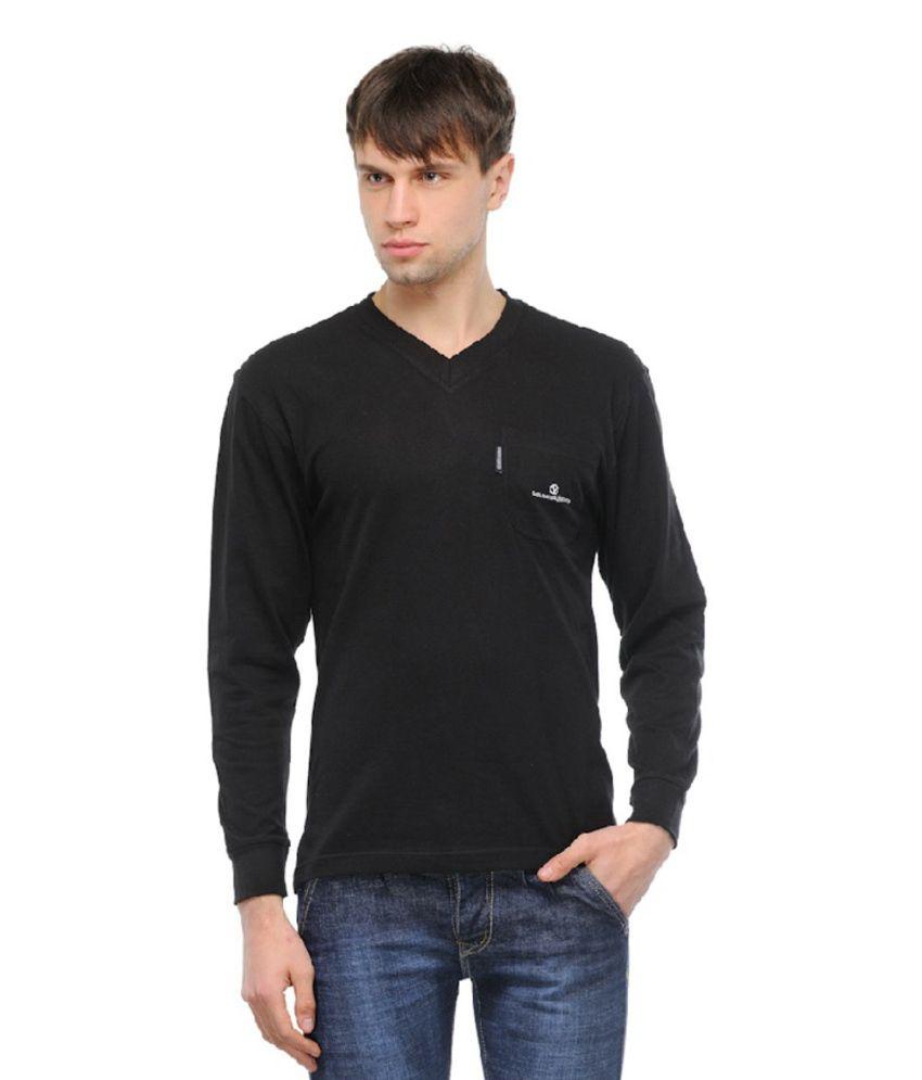 Kkr Yarns And Fabrics Black Cotton Blend Round Full Sleeves T-Shirt