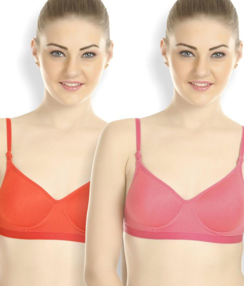 buy tweens multi color cotton padded bra pack of 2 online