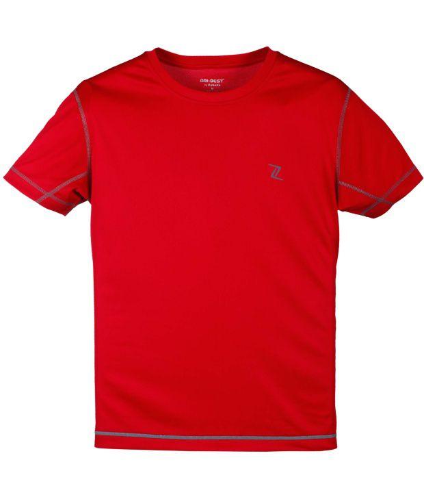Zobello Red Polyester Fitness T Shirt