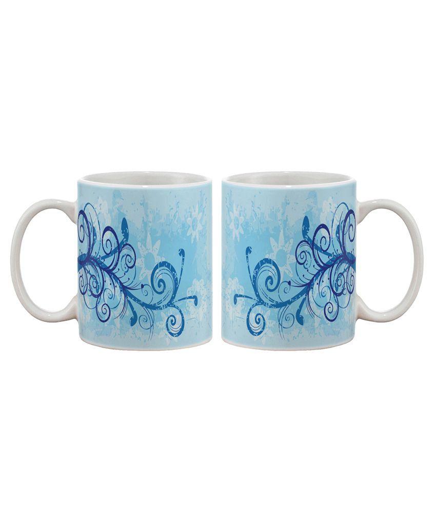 Artifa Blue Floral Design Coffee Mug Buy Online At Best