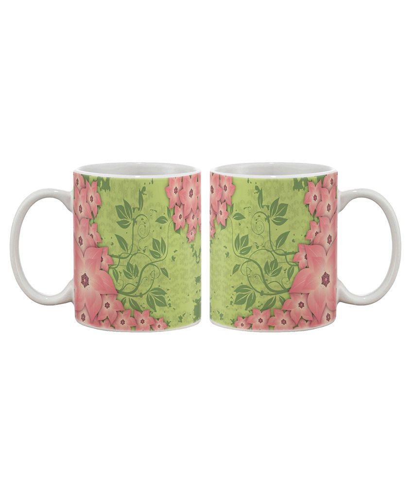 Artifa Green and Pink floral Coffee Mug