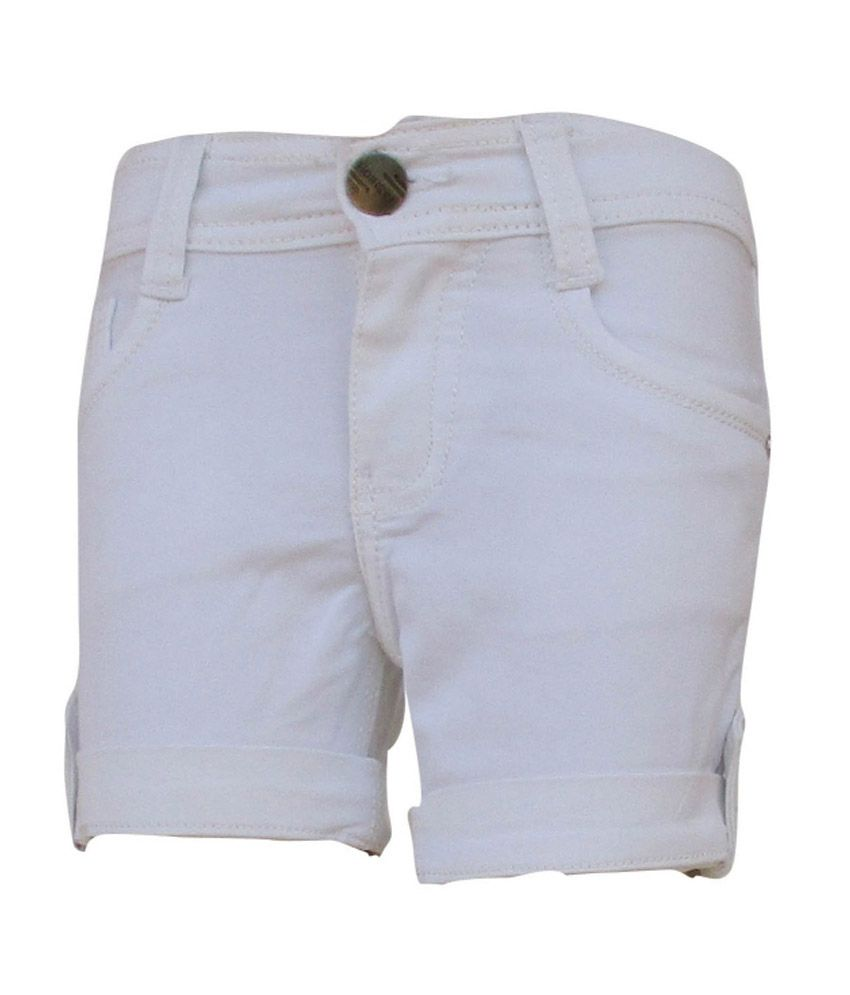 Garlynn White Cotton Shorts