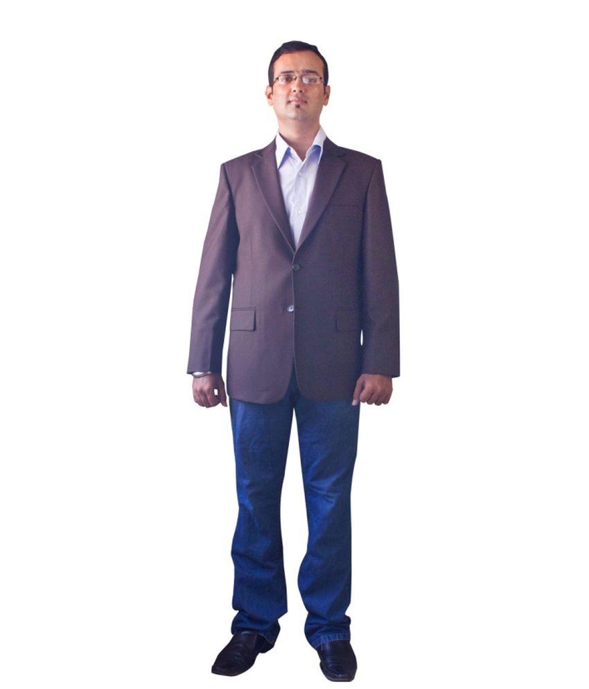 Kinger Brown Woollen Formal Mens Blazer