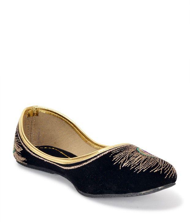 Paduki Black Velvet Daily Wear Flats