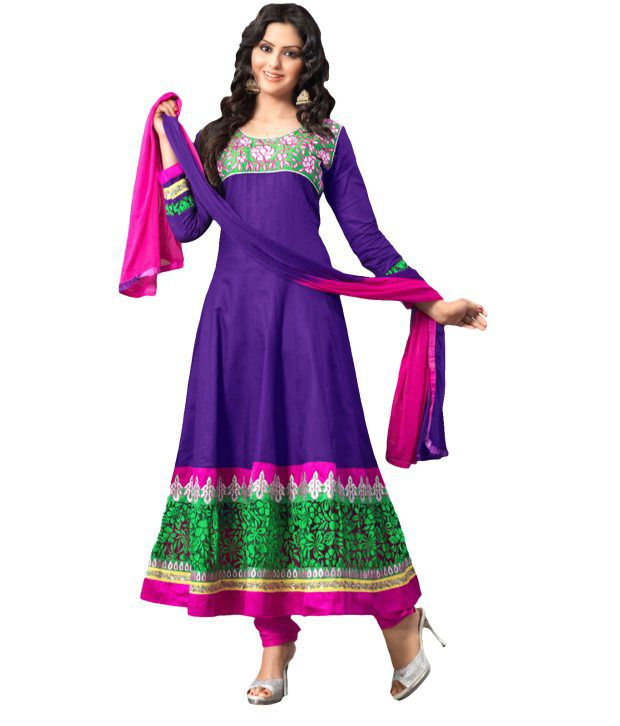 Suchi Fashion Purple And Pink Cotton Embroidered Semi Stitched Suit Anarkali Suit