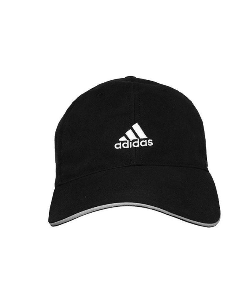 Adidas Black Cotton Three Stripes Cap