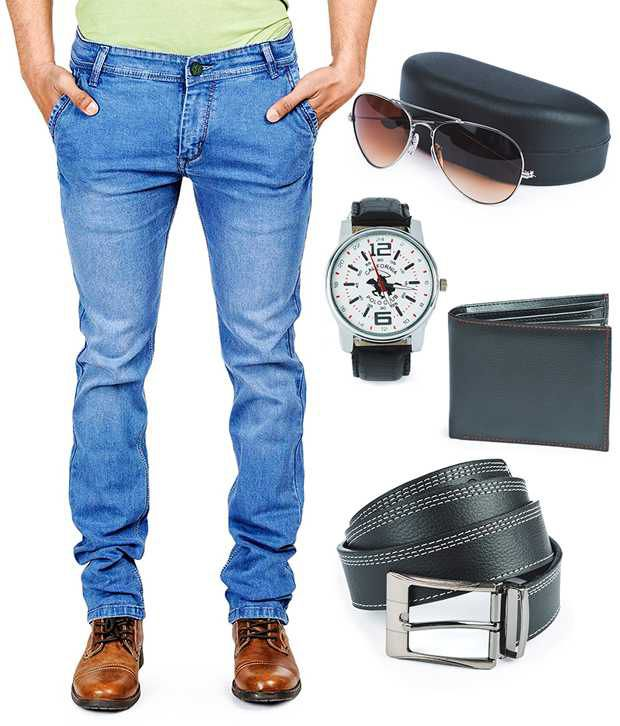 Eprilla Blue Denim Jeans with Wallet,Belt,Sunglass and Watch