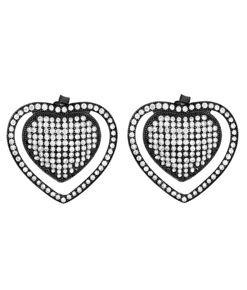 Gemtogems Black Rodium Plated Sterling Silver and Manmade Diamonds Sizzling Heart Earring