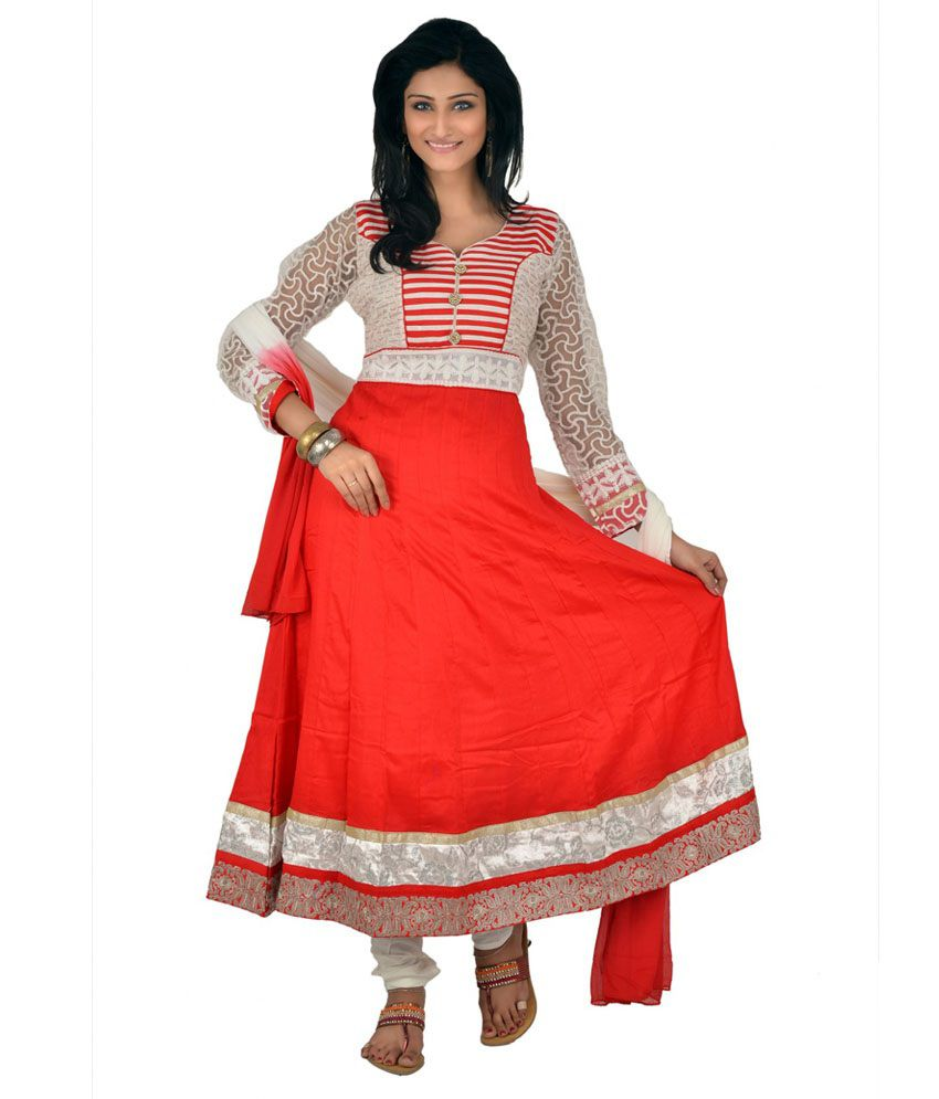 Manavi Circle Red Cotton Embroidered Stitched Anarkali Salwar Suit