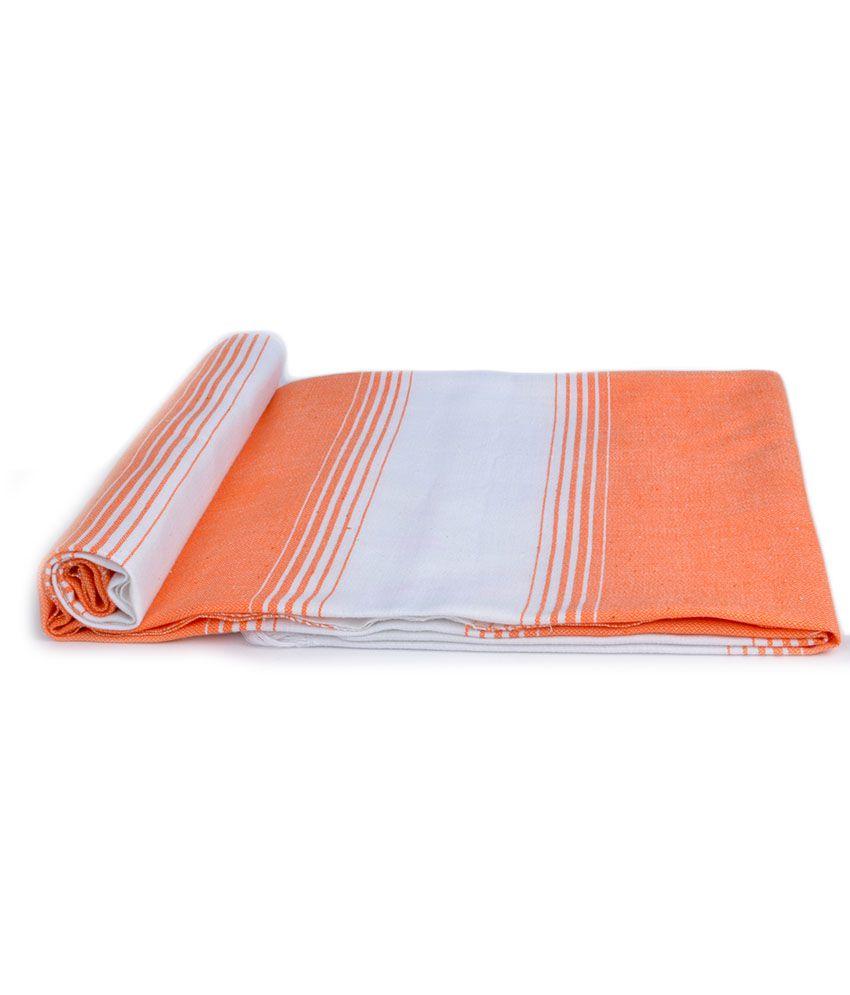 Sathya Single Cotton Bath Towel - Orange