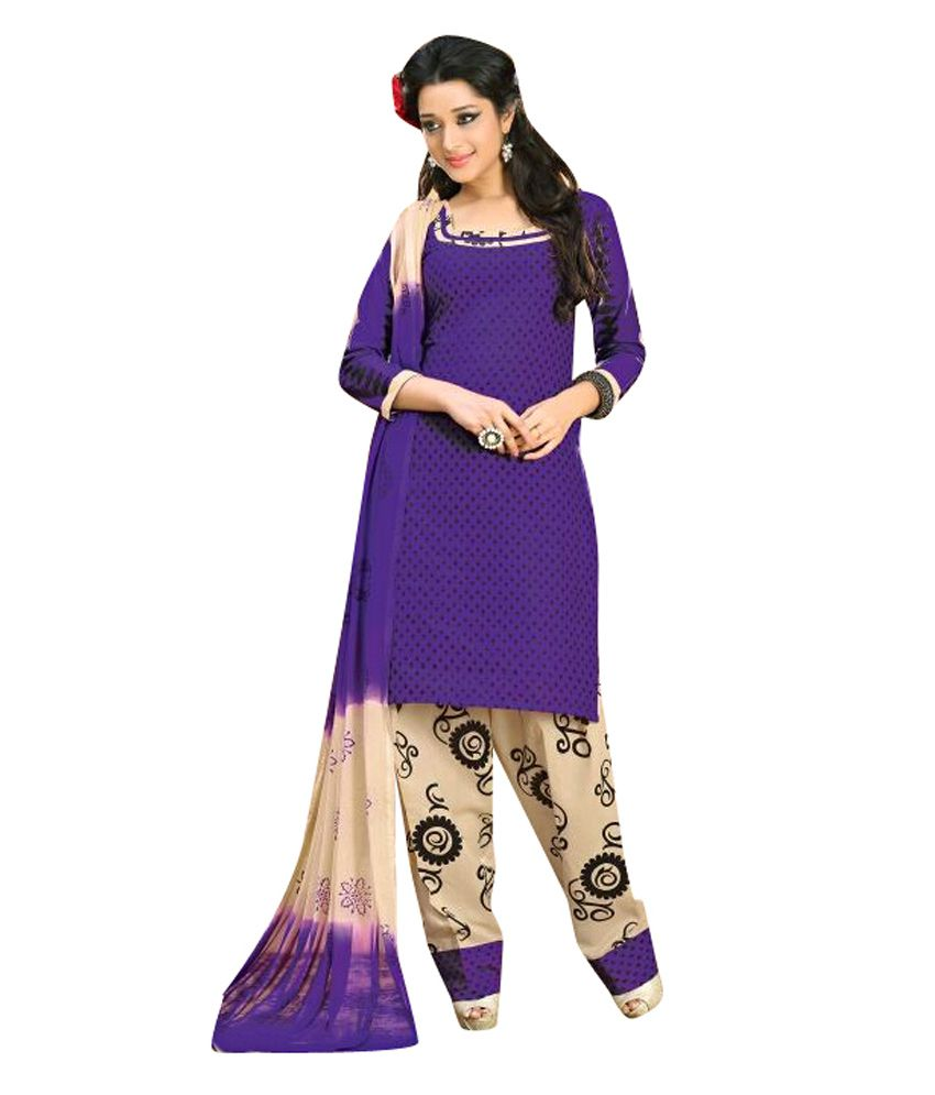 Bhumi Fashion Purple Cotton Unstitched Dress Material