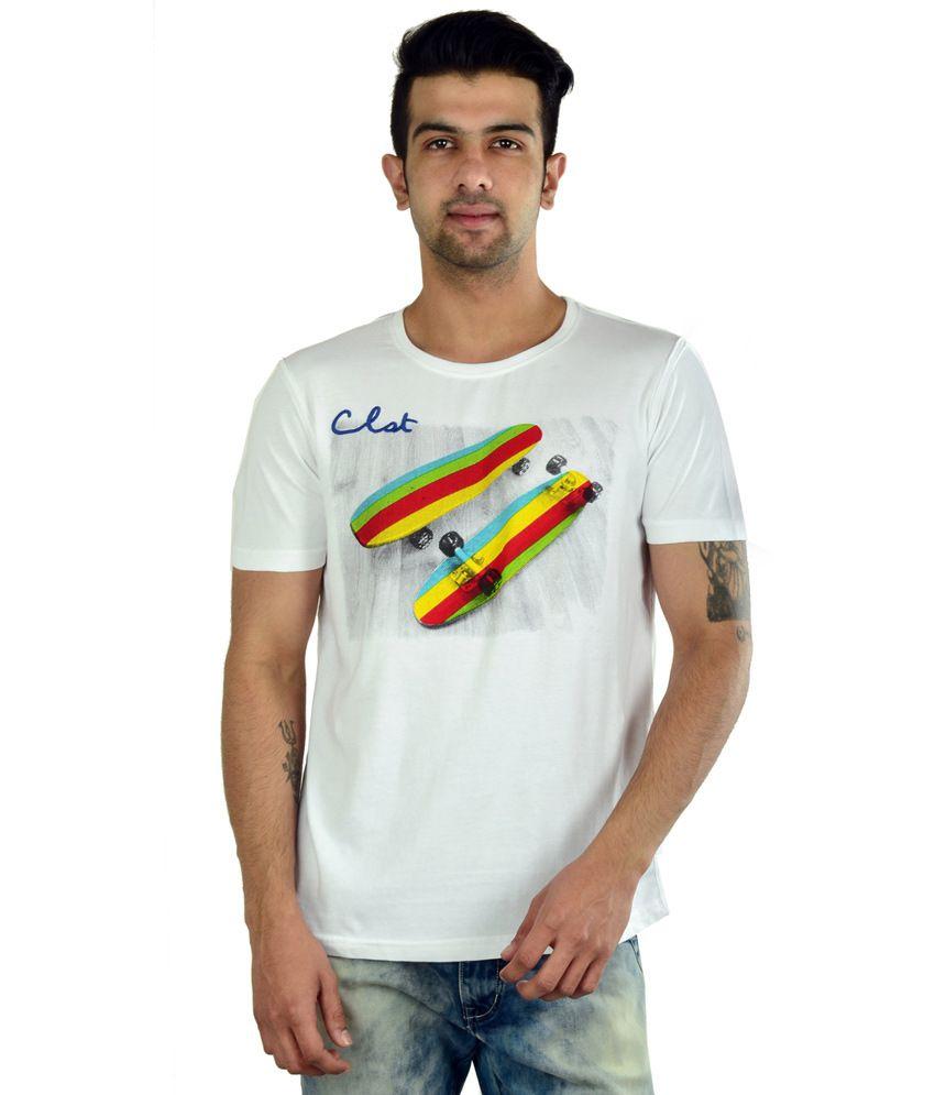 In The Closet White Cotton Half Sleeves Round Neck T-shirt