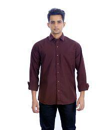 Unique For Men Brown Cotton Blend Casuals Shirt