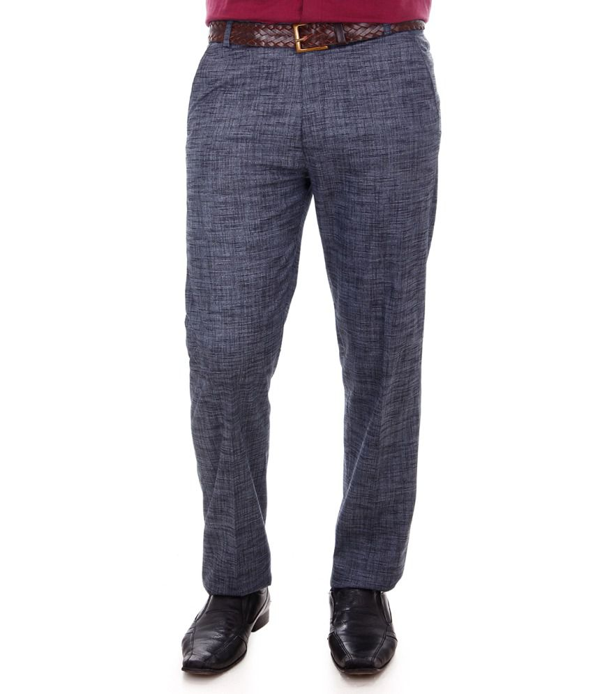 Addiction Gray Poly Viscose Comfort Fit Formal Trouser