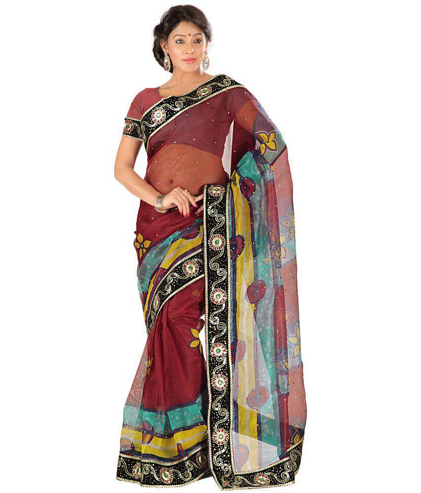 Devki Multi Color Net Saree