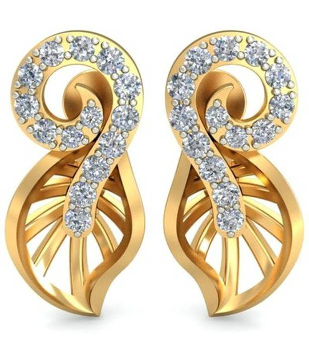 Diaashi Contemporary Gold And Diamond Studs