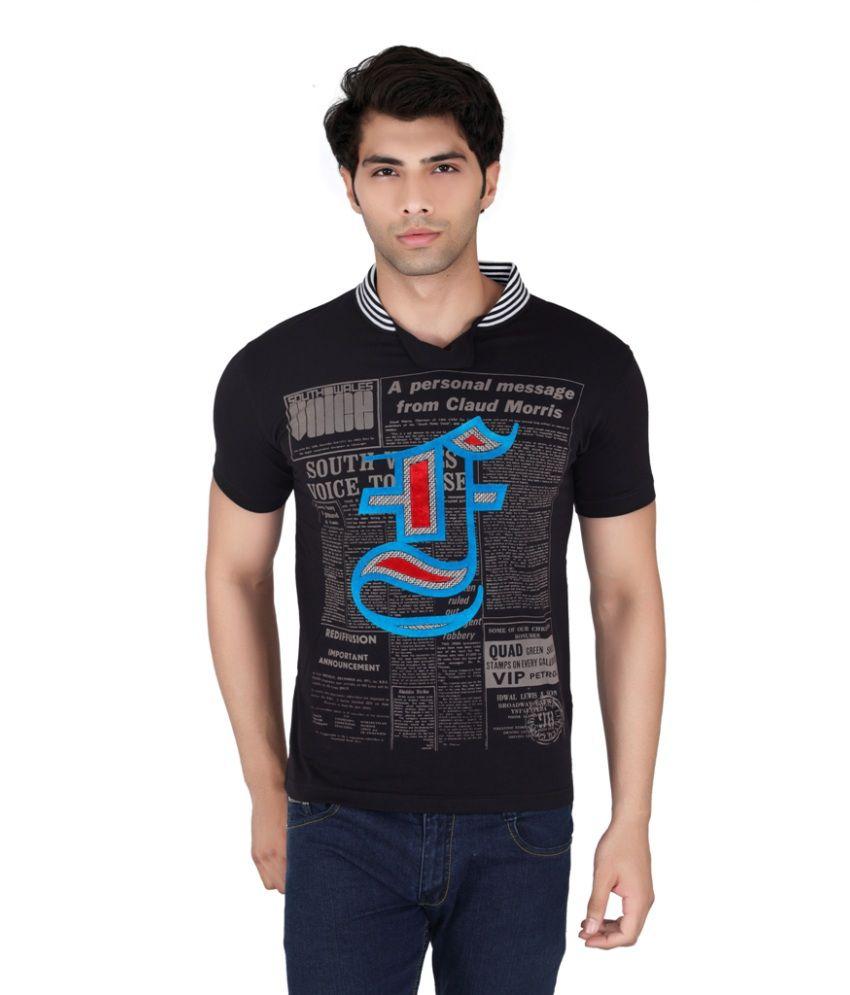 Fulon Black Cotton V-Neck T Shirt