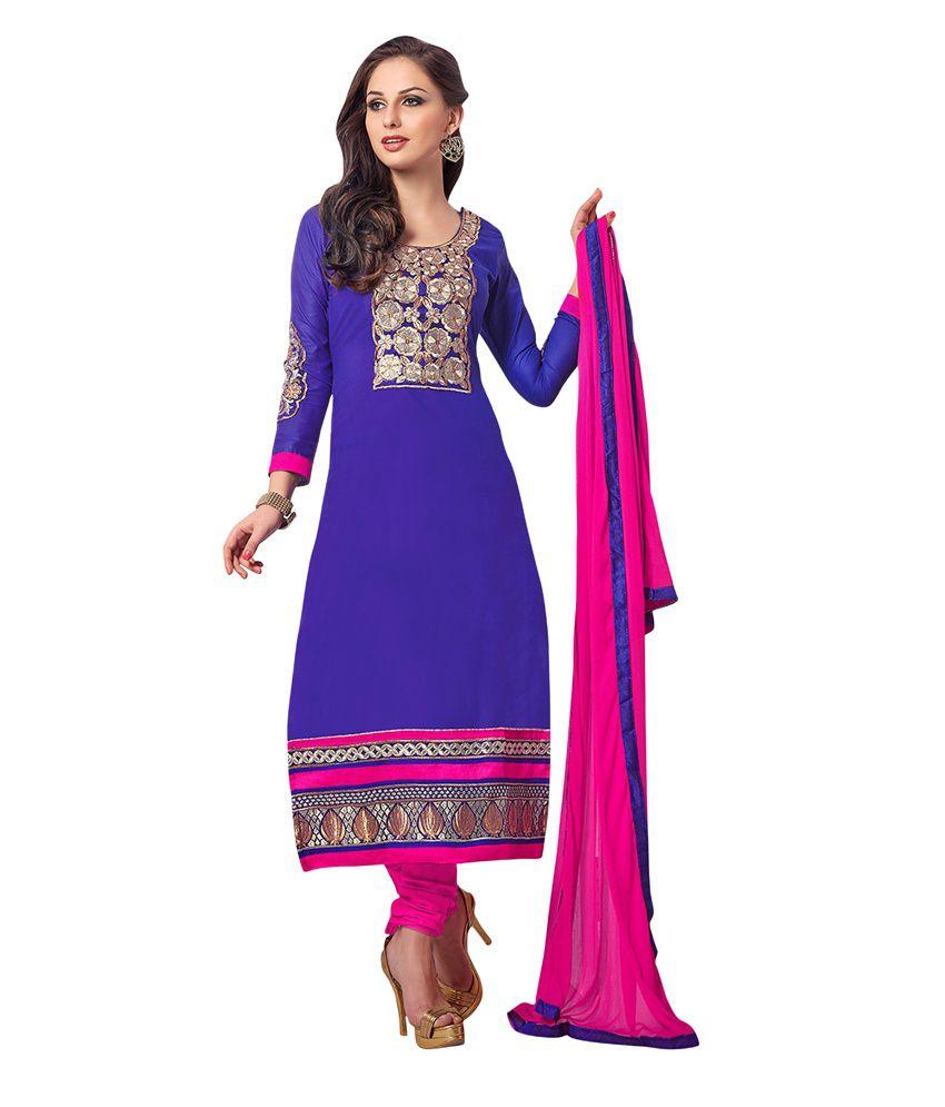 Haven Fashion Blue Cotton Unstitched Dress Material