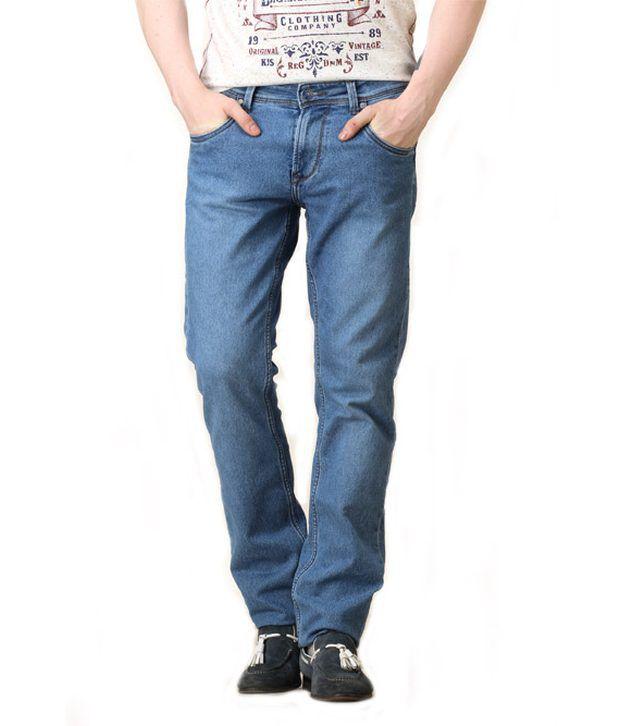 Integriti Blue Cotton Basics Light Kip-431-str Jeans For Men