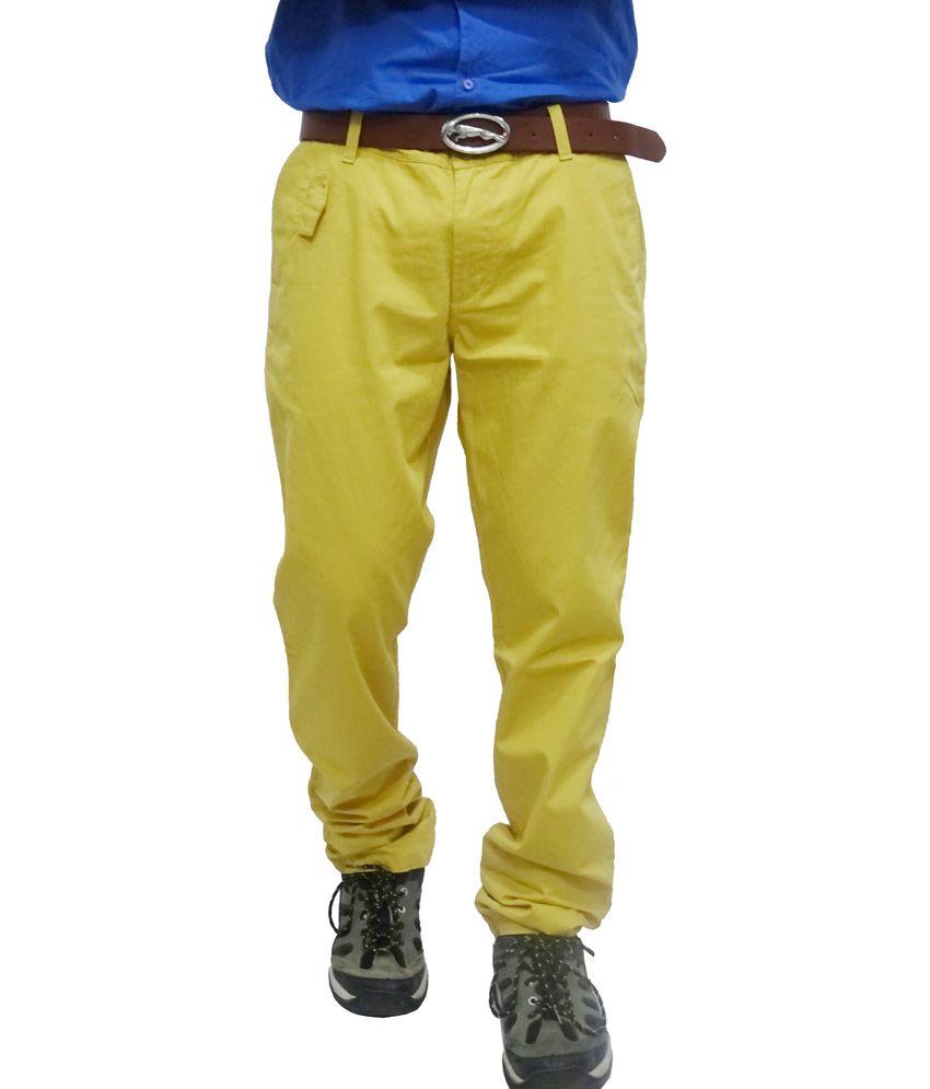 John Players Yellow Cotton Men's Casual Trouser
