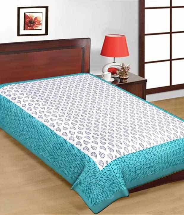 Kismat Collection 100% Cotton New Rajasthani & Jaipuri Printed Single Bed Sheet