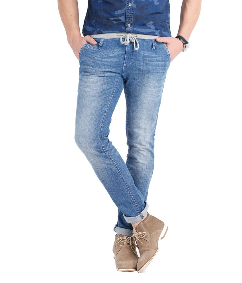 Locomotive Blue Cotton Blend Joggers Denim Jeans with Drawstring Waist Jogger Slim Fit