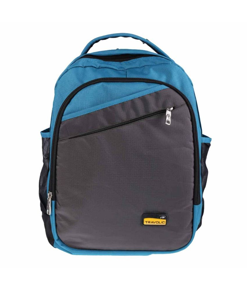 Travolic Grey and Peacock Green Polyester Laptop Backpack - FT1593700