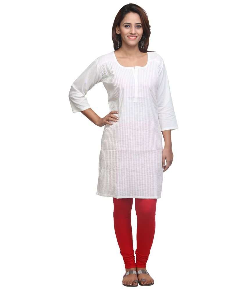 Look Beautiful White Cotton Plain Kurti - Buy Look ...