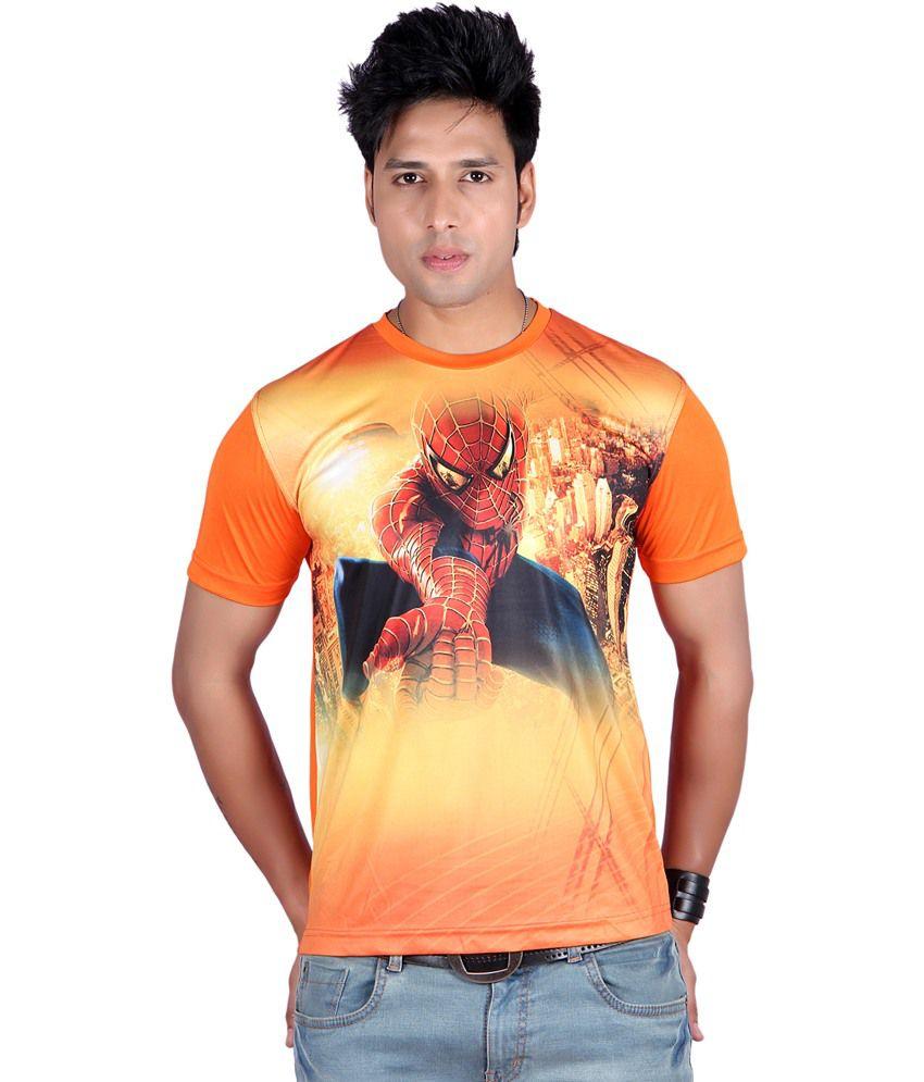 Raves Orange Polyester Half Sleeves Round Neck T-Shirt